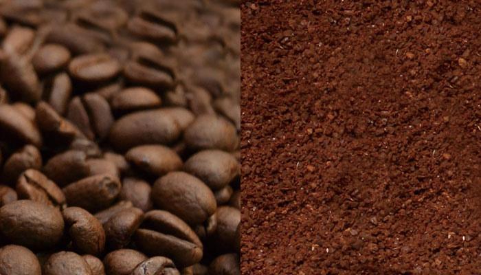 コーヒー豆とコーヒー粉