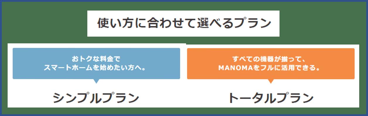 MANOMAシンプルプラン・トータルプランの料金