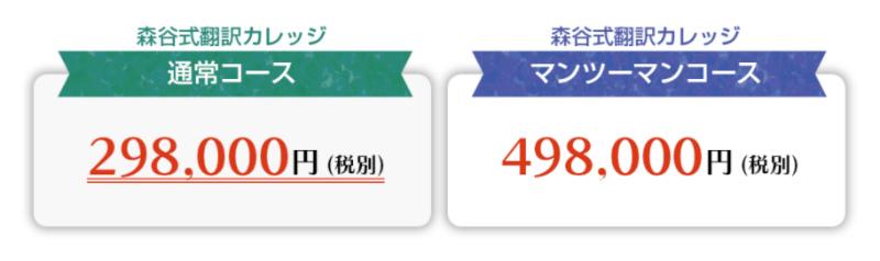森谷式翻訳カレッジの料金